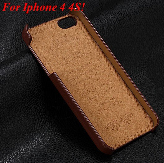 4S 5S Genuine Leather Case Original Real Cowhide Leather Cover For 1551484355-7-brown for 4s