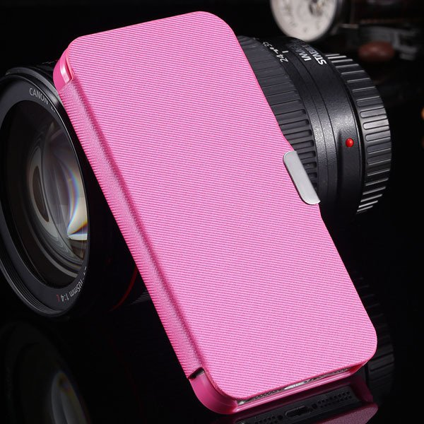 5S Magnetic Wallet Book Case Flip Pu Leather Cover For Iphone 5 5S 1057199030-8-hot pink