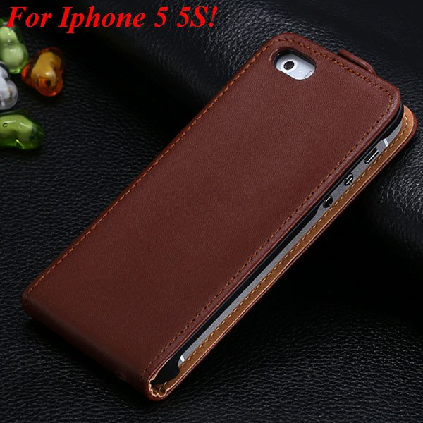Luxury Genuine Leather Flip Cover Case For Iphone 5 5S 5G Full Pho 1336843246-3-5 5S Brown