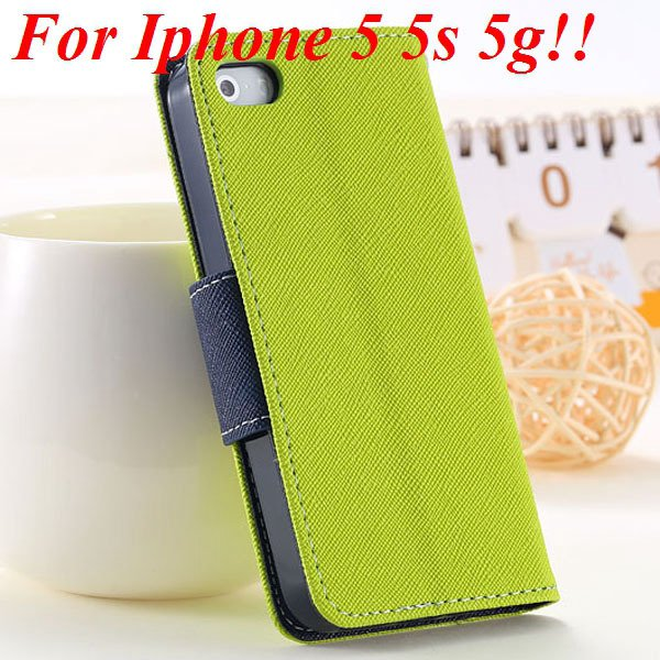 Fashion Full Case For Iphone 5 5S 5G Tpu+Pu Wallet Stand Flip Leat 1777369209-1-green for 5S