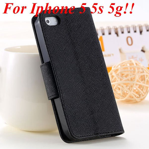 Fashion Full Case For Iphone 5 5S 5G Tpu+Pu Wallet Stand Flip Leat 1777369209-3-all black for 5S