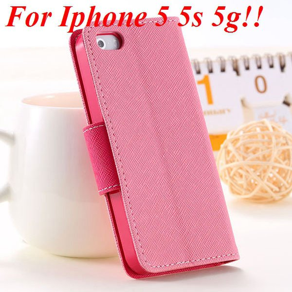 Fashion Full Case For Iphone 5 5S 5G Tpu+Pu Wallet Stand Flip Leat 1777369209-11-pink for 5S