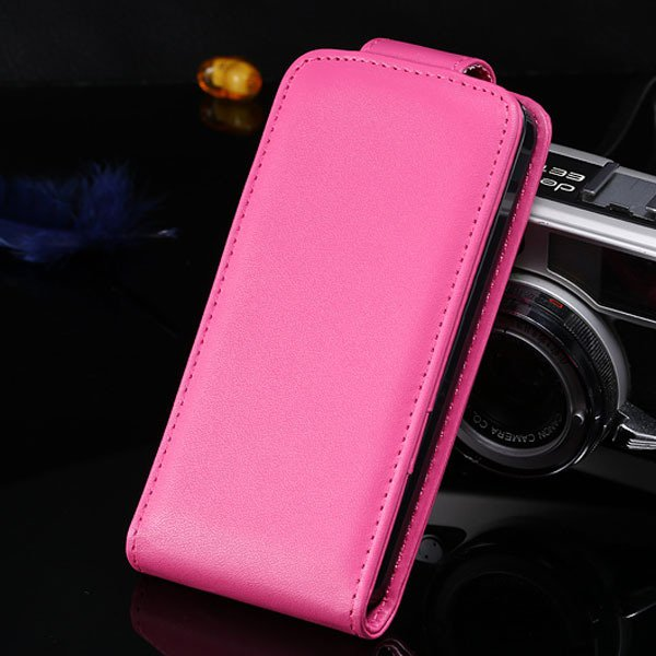 5S Flip Case Pu Leather Cover For Iphone 5 5S 5G Vertical Full Cov 1850210035-6-hot pink