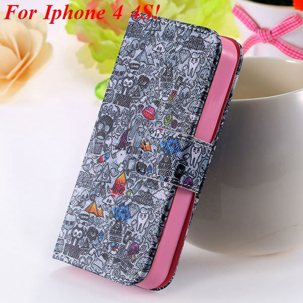 Cute Animal Structure Flip Wallet Case For Iphone 5 5S 5G 4 4S 4G  1925524274-4-4s gray wizard