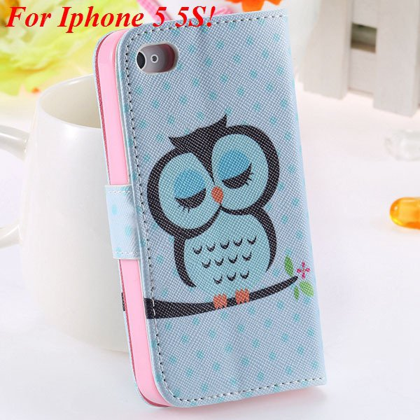 Cute Animal Structure Flip Wallet Case For Iphone 5 5S 5G 4 4S 4G  1925524274-16-5s sky blue owl