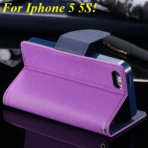 Tpu+Pu Wallet Book Style Case For Iphone 5 5S 5G Flip Leather Carr 1774336501-9-purple