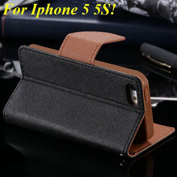 Tpu+Pu Wallet Book Style Case For Iphone 5 5S 5G Flip Leather Carr 1774336501-11-black and brown