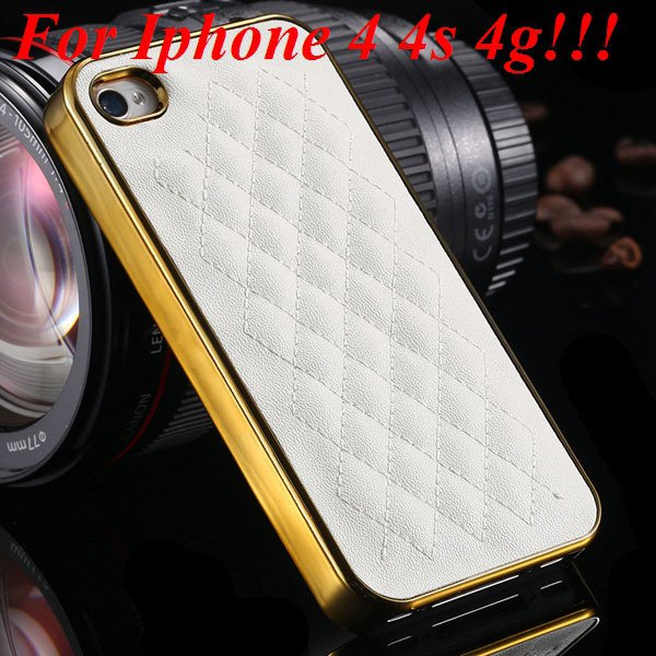 High Quality Pu Leather Case For Iphone 4 4S 4G 5 5S 5G Standard S 1810056459-4-4s gold and white