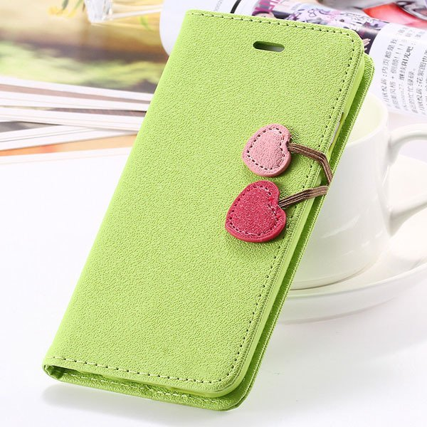 Top Quality Lovable Heart Stand Case For Iphone 5 5S 5G Pu Leather 1035910041-2-grass green for 5S