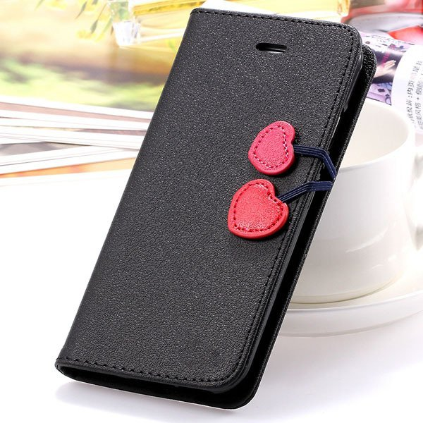 Top Quality Lovable Heart Stand Case For Iphone 5 5S 5G Pu Leather 1035910041-6-black for 5S