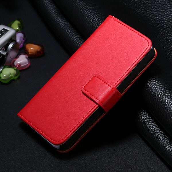 5C Genuine Leather Case For Iphone 5C Flip Wallet Cover Stand Func 1850663553-8-red