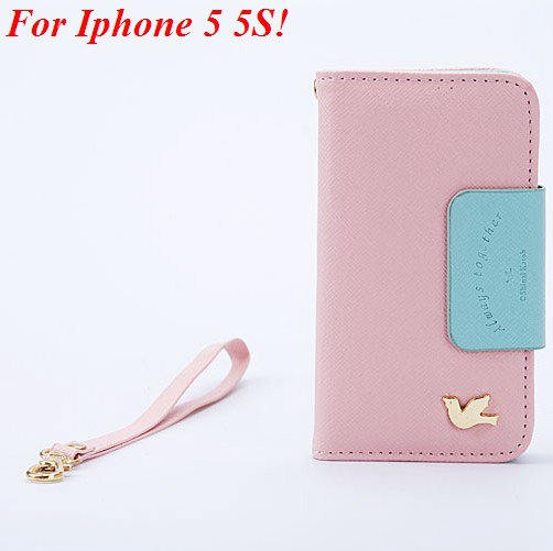 4S 5S Wallet Case For Iphone 5 5S 5G 4 4S 4G Fly Bird Flip Pu Leat 1848633058-2-pink  for 5S