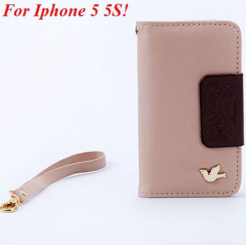 4S 5S Wallet Case For Iphone 5 5S 5G 4 4S 4G Fly Bird Flip Pu Leat 1848633058-3-khaki for 5S