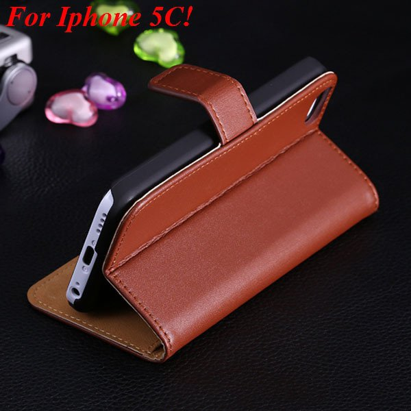5C Genuine Leather Case Flip Cover For Iphone 5C Full Wallet Phone 1850594132-2-brown for 5C