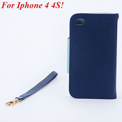 4S 5S Flip Case Wallet Leather Cover For Iphone 4 4S 4G 5 5S 5G Ph 1848716552-12-deep blue for 4S