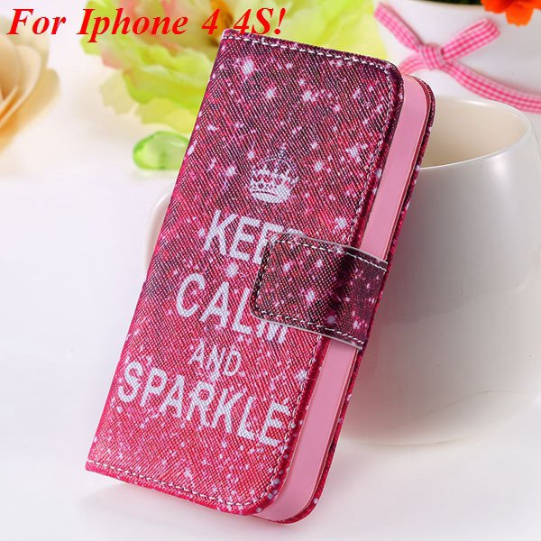 Matt Color Printed Flip Leather Case For Iphone 4 4S 4G 5 5S 5G Wa 1925063846-1-4s Hot Pink Crown