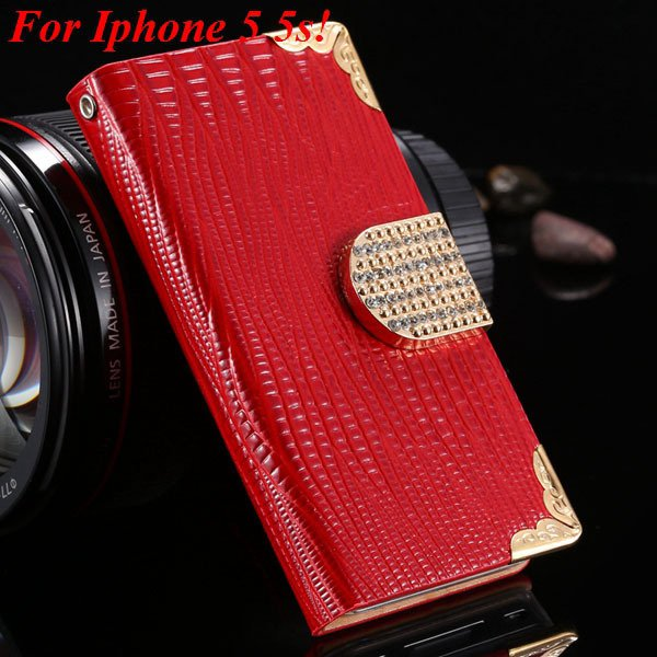 4S 5S Luxury Bling Diamond Flip Case For Iphone 4 4S 4G 5 5S 5G Pu 1892068653-4-red for 5s