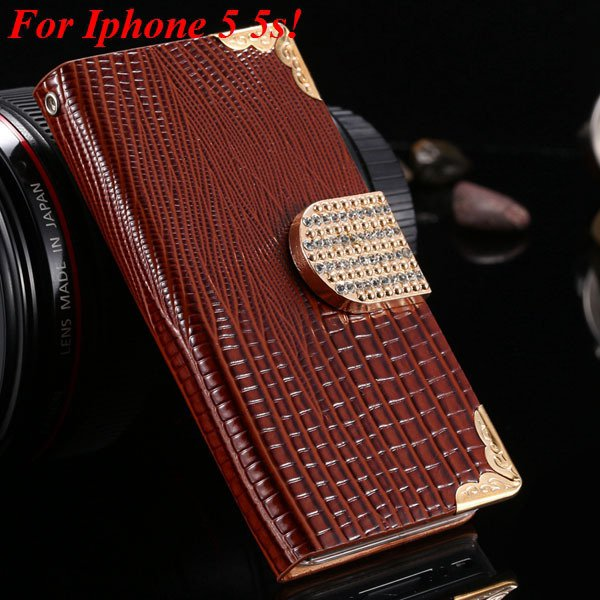 4S 5S Luxury Bling Diamond Flip Case For Iphone 4 4S 4G 5 5S 5G Pu 1892068653-6-brown for 5s