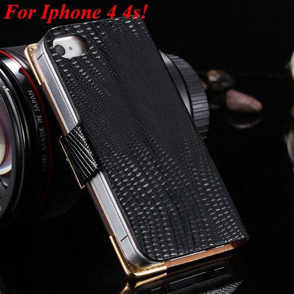 4S 5S Luxury Bling Diamond Flip Case For Iphone 4 4S 4G 5 5S 5G Pu 1892068653-9-black for 4s