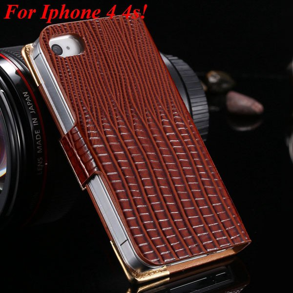 4S 5S Luxury Bling Diamond Flip Case For Iphone 4 4S 4G 5 5S 5G Pu 1892068653-12-brown for 4s