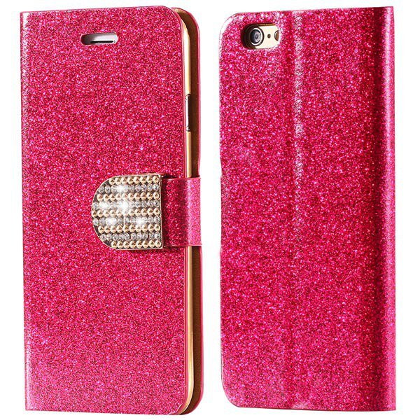 Shiny Bling Diamond Full Cover For Iphone 5 5S 5G Pu Leather Case  32251970553-4-hot pink