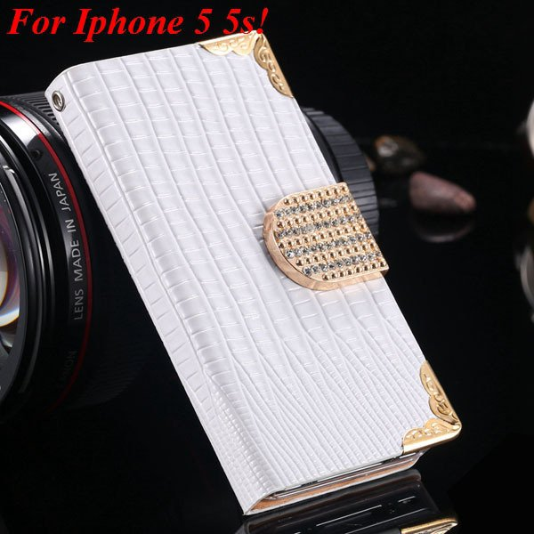 4S 5S Diamond Leather Case For Iphone 5 5S 5G 4 4S 4G Flip Wallet  1892017068-1-white for 5s