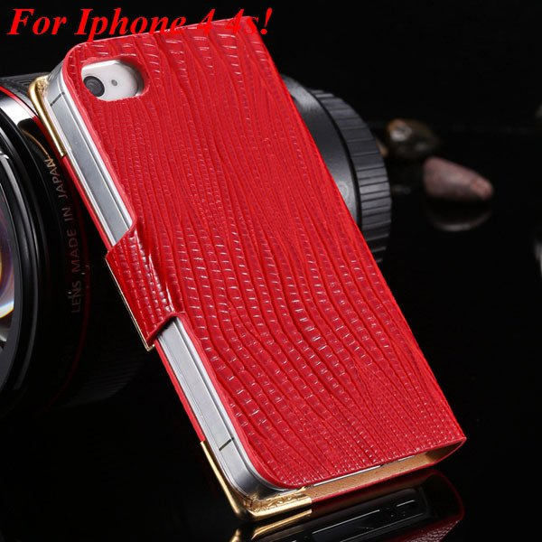 4S 5S Diamond Leather Case For Iphone 5 5S 5G 4 4S 4G Flip Wallet  1892017068-8-red for 4s