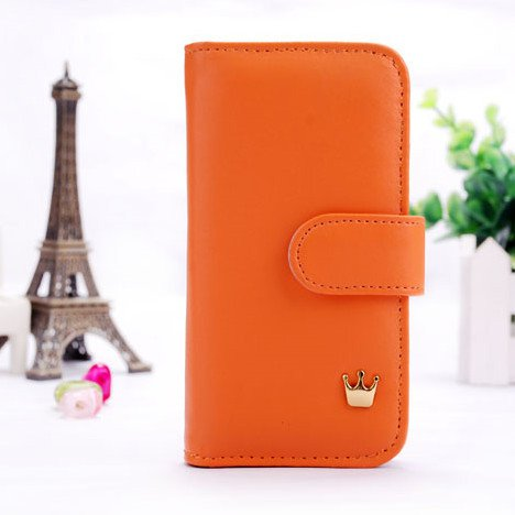 Crown Pouch Wallet Case For Apple Iphone 5 5S 5G Pu Leather Flip C 1321815696-1-Orange