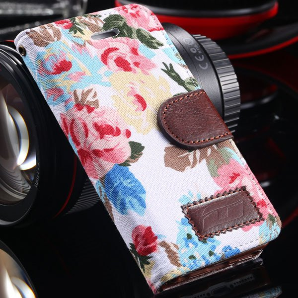 5S Flip Wallet Case Deluxe Pu Leather Countryside Flower Floral Ca 1987109907-2-white