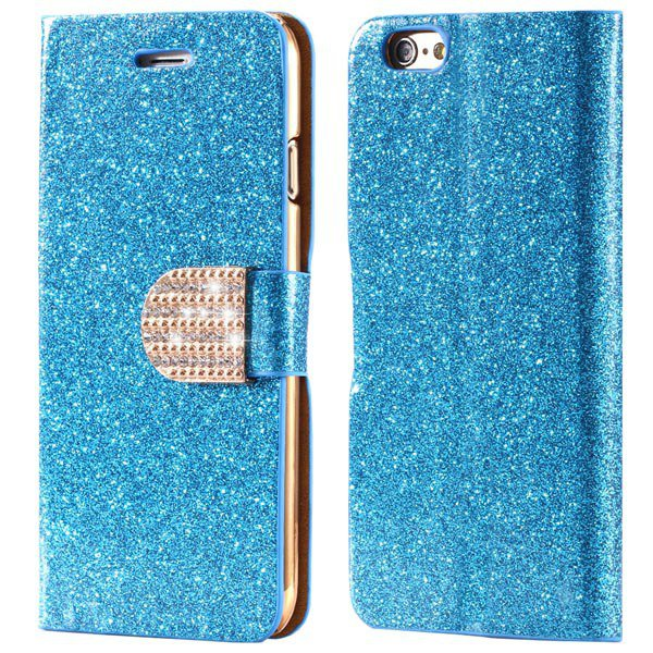 Deluxe Bling Crystal Diamond Pu Leather Bag For Iphone 5 5S 5G Ful 32252095278-6-blue