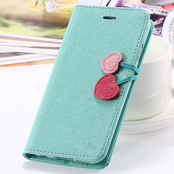Fashion Flip Heart Case For Iphone 5C Stand Holster Cover Pu Leath 1835380861-5-mint green