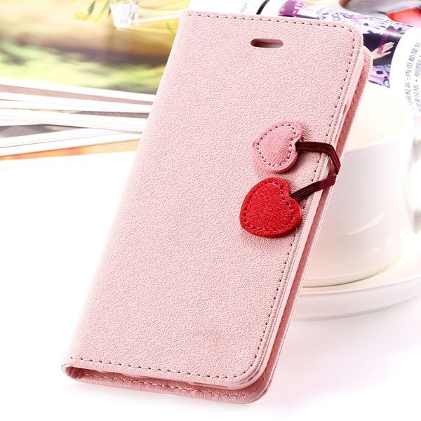 Fashion Flip Heart Case For Iphone 5C Stand Holster Cover Pu Leath 1835380861-6-pink