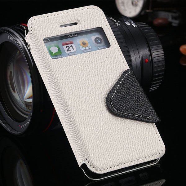 5S Window Case Flip View Cover For Iphone 5 5S 5G Pu Wallet Leathe 1927855633-2-white