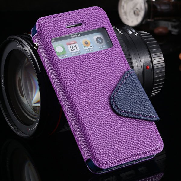 5S Window Case Flip View Cover For Iphone 5 5S 5G Pu Wallet Leathe 1927855633-5-purple