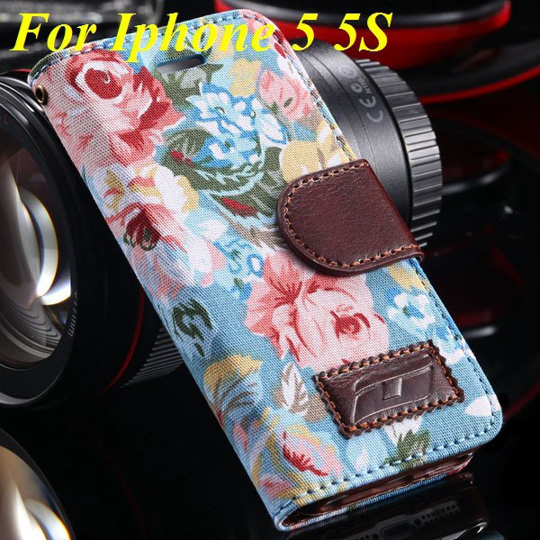 5S Luxury Pu Leather Case Flower Floral Wallet Cover For Iphone 5  1987089090-3-blue for 5s