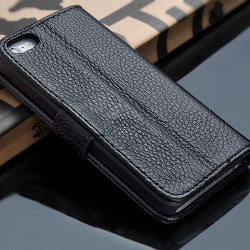 5S Luxury Original Genuine Leather Case For Iphone 5 5G Wallet Fli 1009156720-1-black