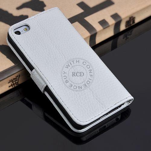 5S Luxury Original Genuine Leather Case For Iphone 5 5G Wallet Fli 1009156720-2-white