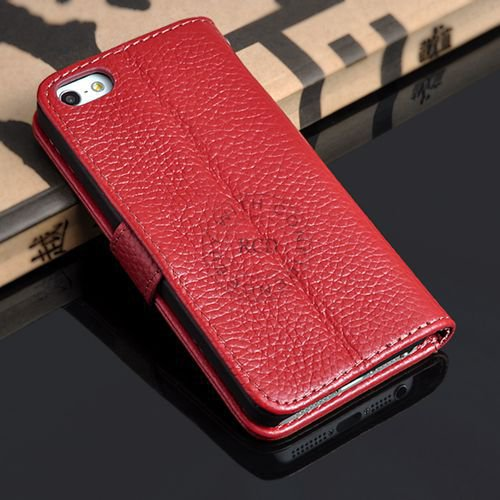 5S Luxury Original Genuine Leather Case For Iphone 5 5G Wallet Fli 1009156720-3-red