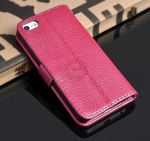 5S Luxury Original Genuine Leather Case For Iphone 5 5G Wallet Fli 1009156720-5-rose