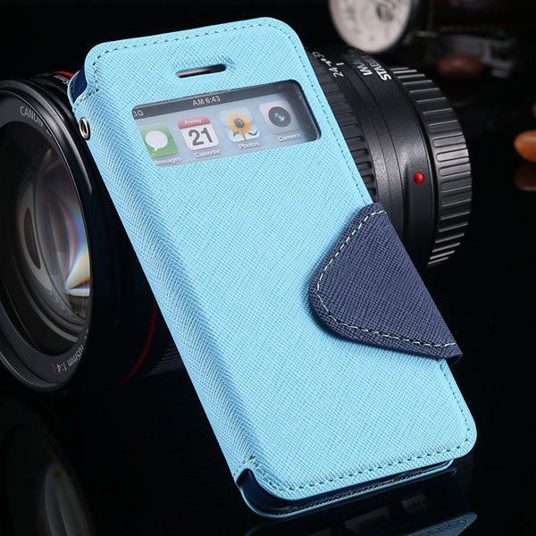 Window Display View Case For Iphone 5 5S 5G Flip Pu Leather Cover  1927251282-6-sky blue