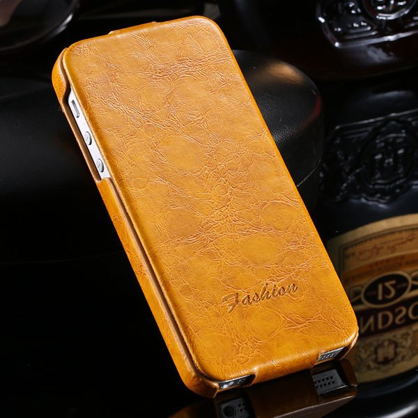 Retro Smooth Wax Feeling Full Cover For Iphone 5 5S 5G Pu Leather  32252012042-1-yellow