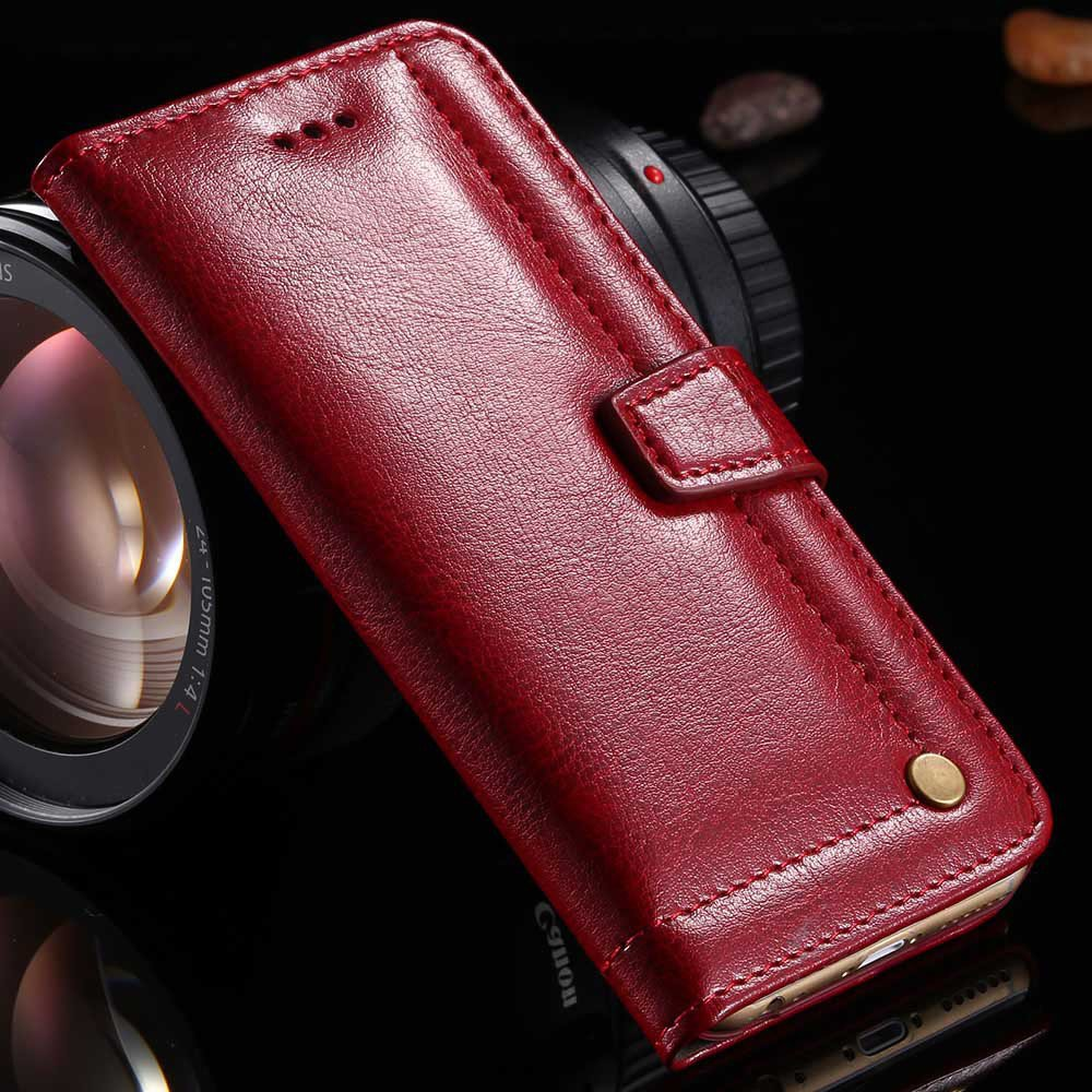 5S Genuine Leather Wallet Case For Iphone 5 5S 5G Full Protect Wit 32267661210-2-red