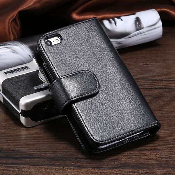 High Quality Lychee Pattern Case For Iphone 5C Carry Cover Card In 1782478796-1-black