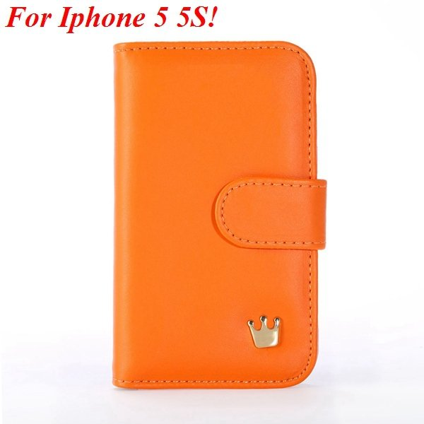 Mix Deluxe Crown Wallet Case For Iphone 5 5S 5G Flip Cover Pouch M 1829466754-1-orange for 5s