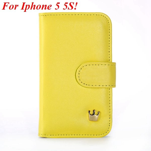 Mix Deluxe Crown Wallet Case For Iphone 5 5S 5G Flip Cover Pouch M 1829466754-2-yellow for 5s