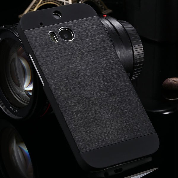 M8 Luxury Aluminum Case Metal Brush Back Cover For Htc One M8 Dual 1273815161-1-black