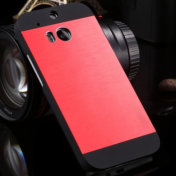 M8 Luxury Aluminum Case Metal Brush Back Cover For Htc One M8 Dual 1273815161-2-red