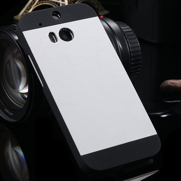 M8 Luxury Aluminum Case Metal Brush Back Cover For Htc One M8 Dual 1273815161-3-silver