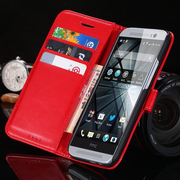 M8 Flip Wallet Case For Htc One M8 Full Pu Leather Cover With Stan 1877666152-3-red