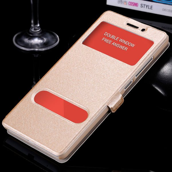 For Hongmi Note Luxury Pu Leather Case Free Answer Dual Window Dis 32283822182-3-gold